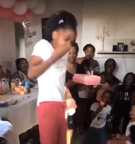 Twitter users react in shock after girl smashed her birthday cake into her mother