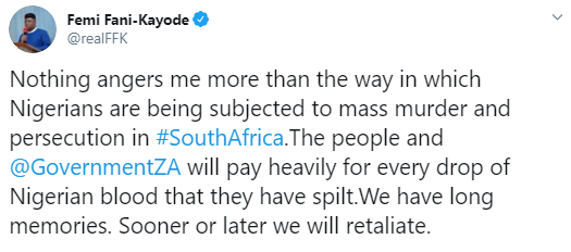 South Africans will pay heavily for every drop of Nigerian blood that they have spilled - FFK vows