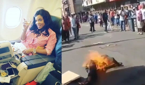 #Xenophobia: Iyabo Ojo reacts to video of South Africans burning a Nigerian alive