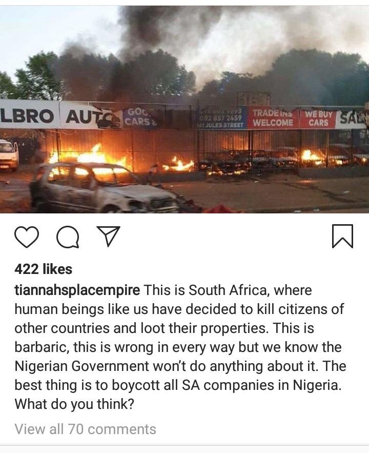 Toyin Lawani calls on Nigerians to boycott South African companies following xenophobic attacks