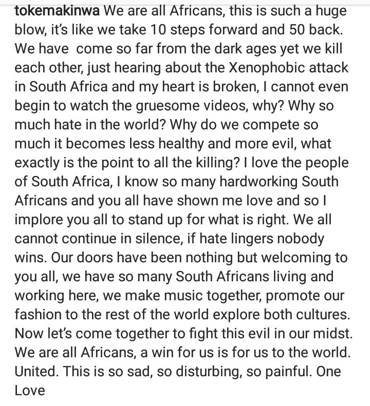 """Our doors have been nothing but welcoming to you all"" Toke Makinwa tells South Africans as she condemns xenophobic attack on Nigerians"