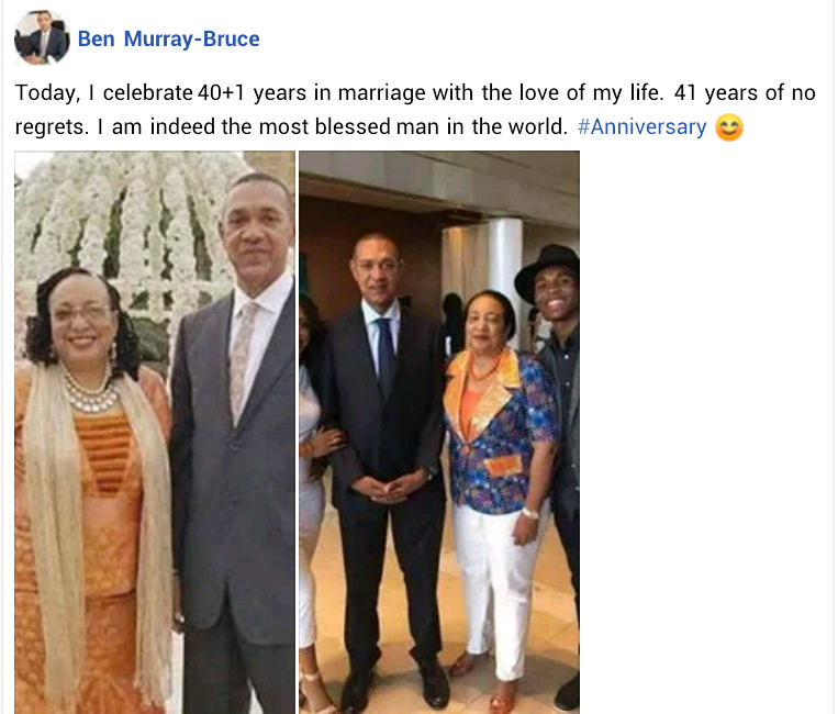 """""""41 years of no regrets"""" - Senator Ben Murray-Bruce celebrates wedding anniversary with wife Evelyn"""