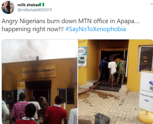 Nigerians set MTN office on fire in Lagos (photos)