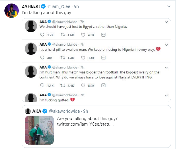 #Xenophobia: Nigerian rapper Ycee and SA rapper AKA come for each other on Twitter