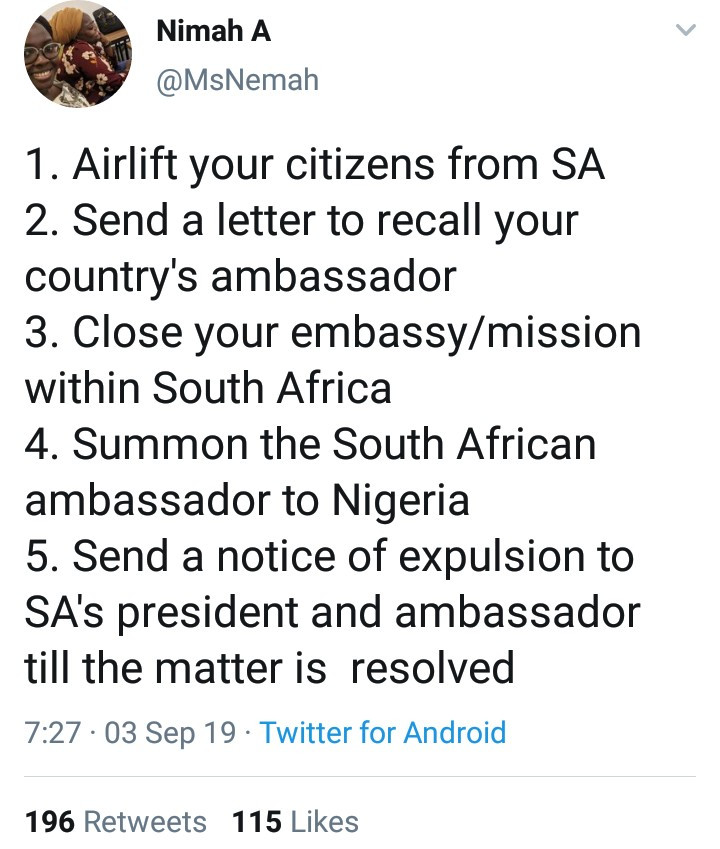 Social justice advocate outlines steps the Nigerian government should take in reaction to the xenophobic attack on Nigerians living in South Africa