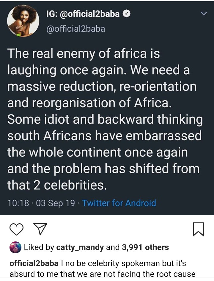 """Was Mandela a celebrity before he started fighting for his people?"" 2Face asks those calling out celebrities for not reacting to the recent xenophobia in South Africa"