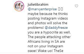 You are just like those people killing other Africans- Juliet Ibrahim slams Daddy Freeze for calling Nigerian celebrities hypocrites for