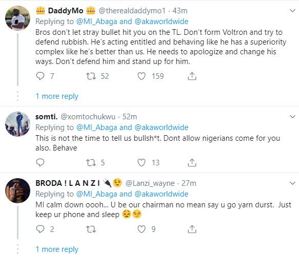 Nigerians issues stern warning to MI Abaga for trying to defend SA rapper, AKA