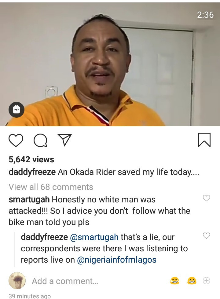 Daddy Freeze narrates how he was saved by an Okada man who warned him to run because Nigerians are