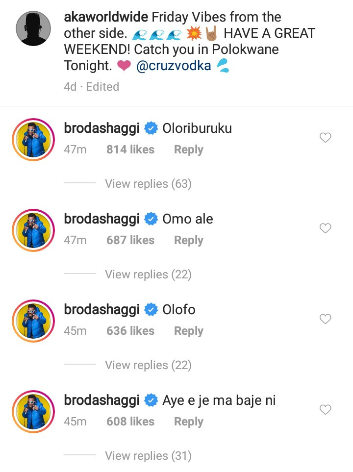 Broda Shaggi and other Nigerians flock South African rapper AKA