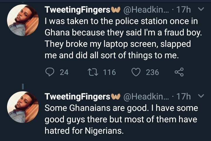 Nigerian man narrates his experiences with xenophobia in Ghana