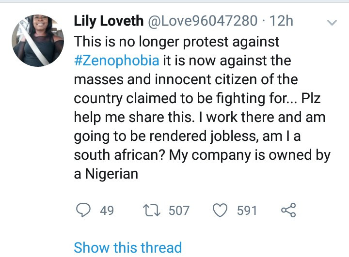 Woman cries out after the business she works for was vanadalized and looted in reprisal xenophobic attacks