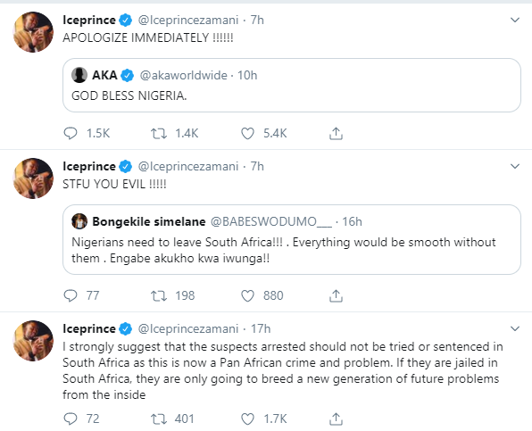 Xenophobia: Ice Prince slams Babes Wodumo on Twitter, tells AKA to apologize