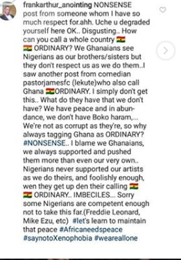 Uche Ogbodo slammed for describing Ghana as