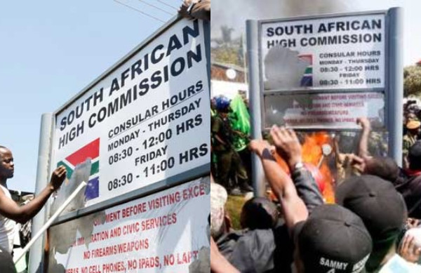 Xenophobia: Zambian Students attack South Africa Embassy, burn down its signpost