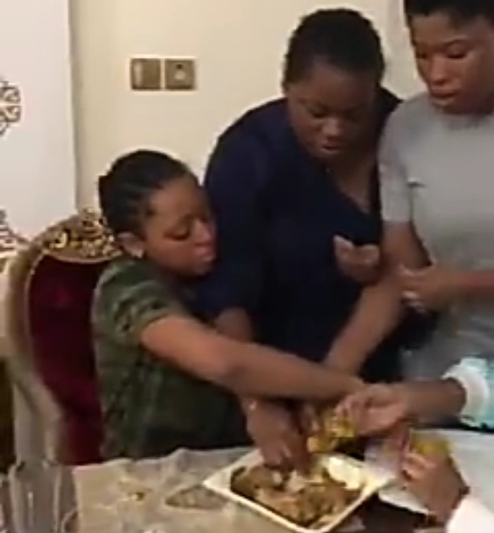 Regina Daniels and her friends playfully fight for last ball of eba her mum made while Ned Nwoko minds his business (video)