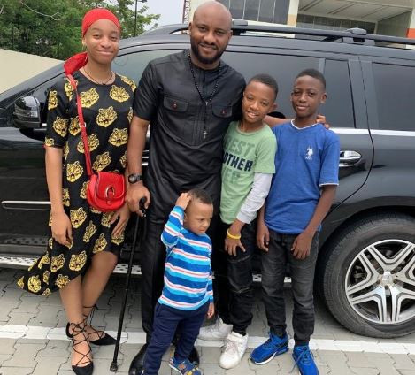 Yul Edochie shares rare photo of his four kids