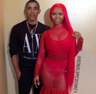 Photoshopped image of Michelle and Barack Obama as Nicki Minaj and her boyfriend