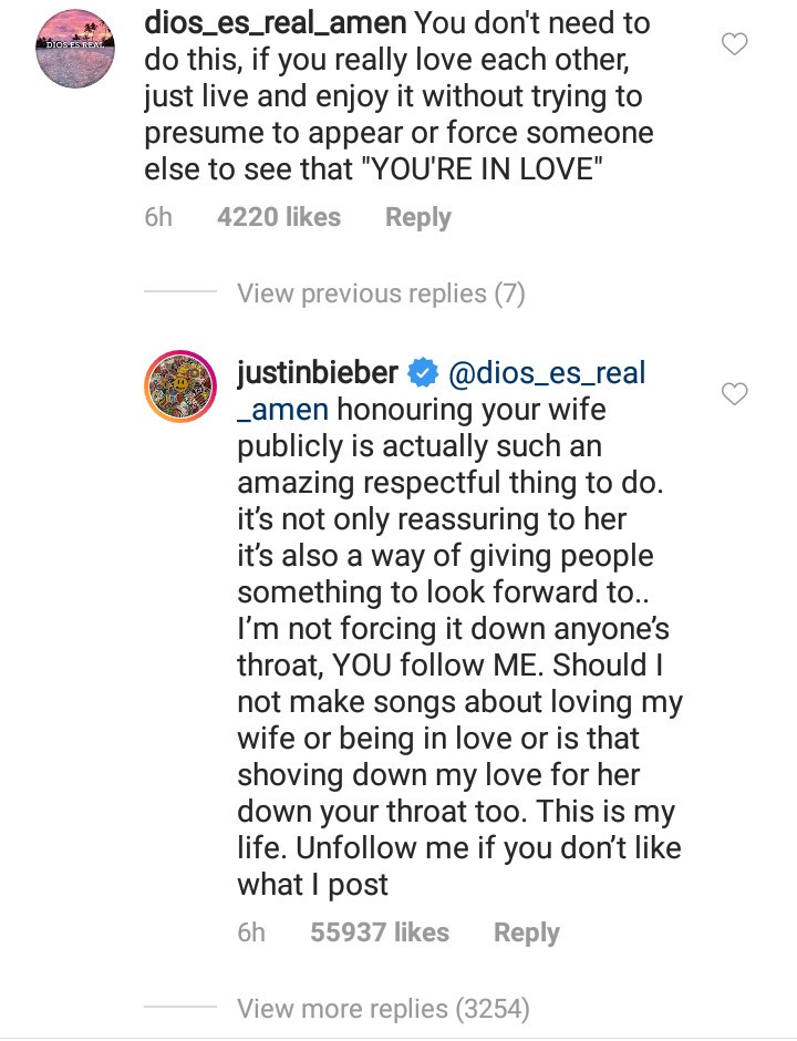 Justin Bieber responds as follower criticizes him for always gushing about wife, Hailey, on IG