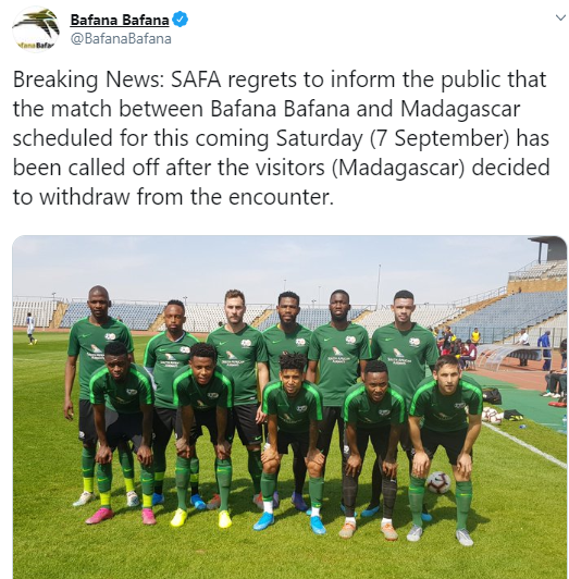 Madagascar football team cancels match with South Africa over xenophobic attacks