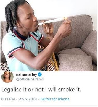 Legalise it or not I will smoke it - Naira Marley shares photo of himself smoking