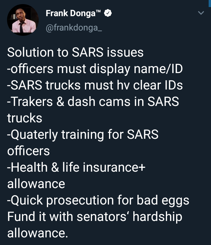 Frank Donga proposes that senators' hardship allowance should be used to reform SARS instead