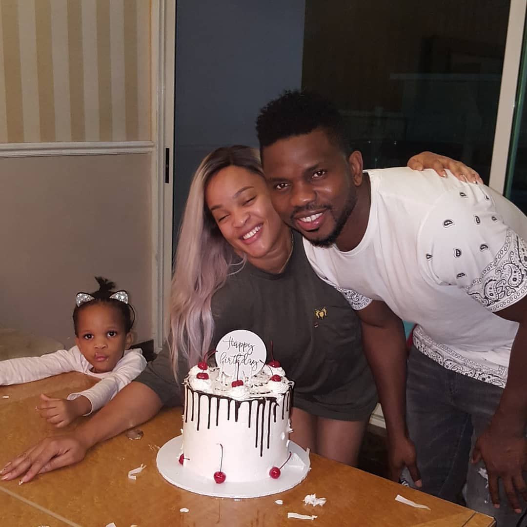 Photos: Joseph Yobo celebrates his birthday with his wife, Adaeze and kids