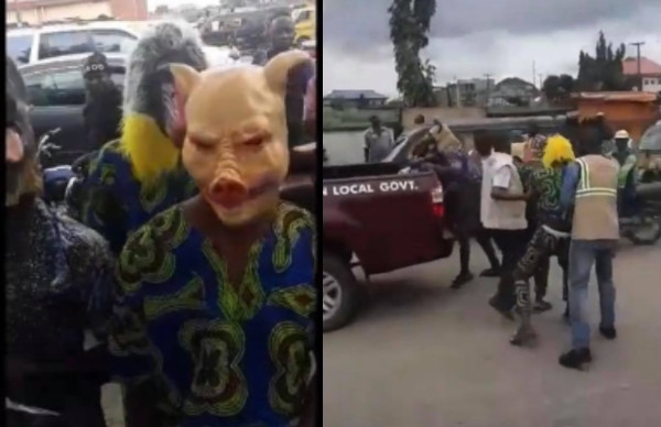 Promo Gone Wrong: Hilarious moment local government officials arrested animal-mask wearing men during a public advert in Lagos (video)