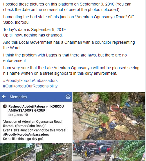 Resident criticizes Ikorodu local govt chairman for doing nothing about the filthy state of a particular street three years after he called his attention to it (photos)