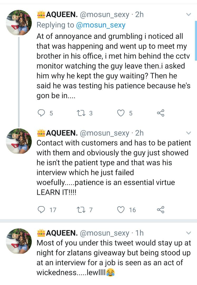 Read these Tweets about a guy looking for a job and how he was tested by his