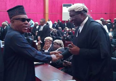 Photos: Oshiomhole, Uche Secondus, Keyamo, Fashola, others arrive as tribunal rules on Atiku?s petition challenging Buhari?s victory