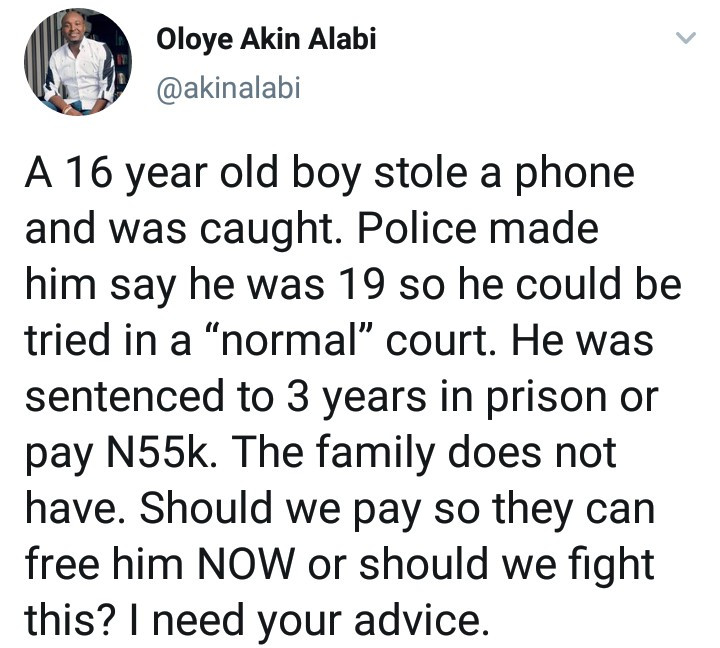 Akin Alabi narrates how police forced a boy, 16, to lie he's 19 so he can be tried as an adult