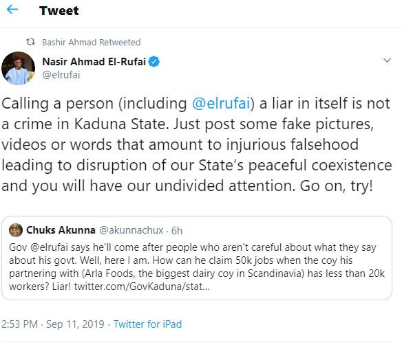 Twitter user calls Governor El-Rufai a