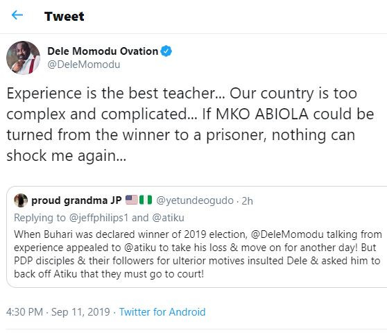 Atiku VS Buhari:?If MKO Abiola?could be turned from the winner to a prisoner, nothing can shock me again - Dele Momodu