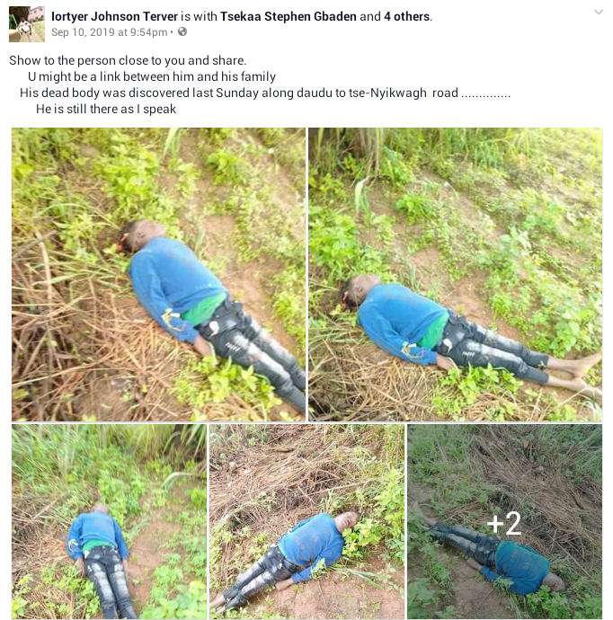Body of unidentified man discovered in the bush in Benue, murder suspected ( graphic photos)