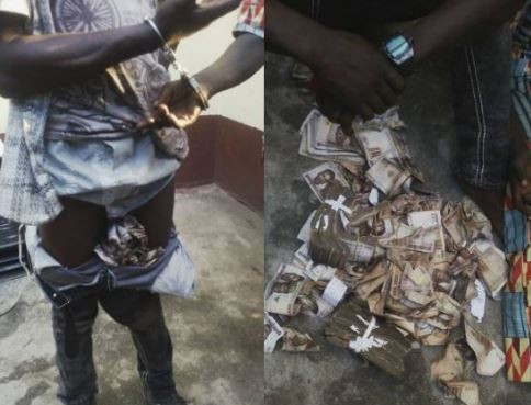 Lagos Police shares hilarious throwback photos of when they arrested two criminals who stuffed money in their pants