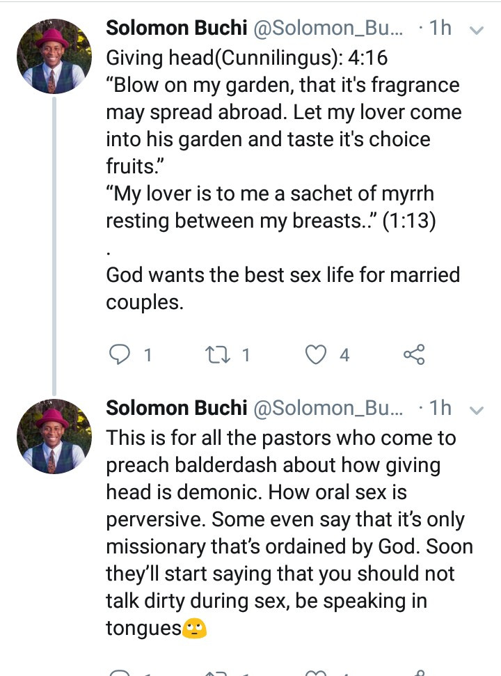 "Twitter user claims ""fingering and giving head is biblical"" then goes on to quote the Bible to backup his claims"