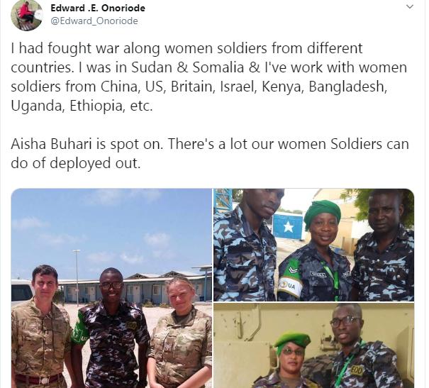 Nigerian policeman backs Aisha Buhari, says Nigerian female soldiers are lazy