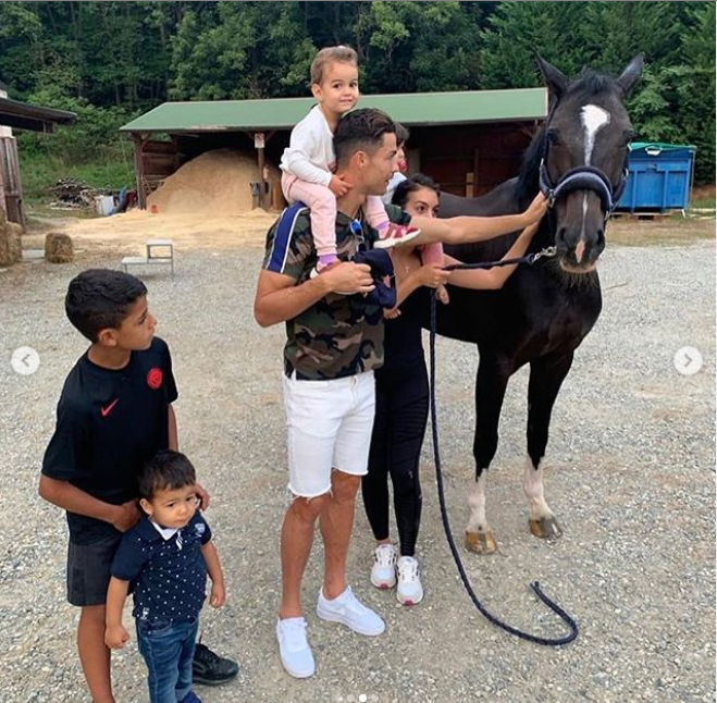 Cristiano Ronaldo steps out with his adorable family as they enjoy bike ride together?(Photos)