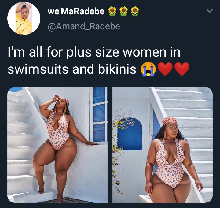 Plus sized South African lady flaunts her curves in a swimsuit