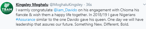 Kingsley Moghalu congratulates Davido and Chioma on their engagement, shades Nigerian leaders