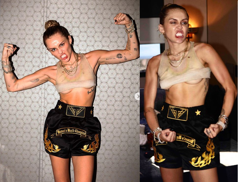 Miley Cyrus flaunts underboobs as she flexes her muscles in new photos