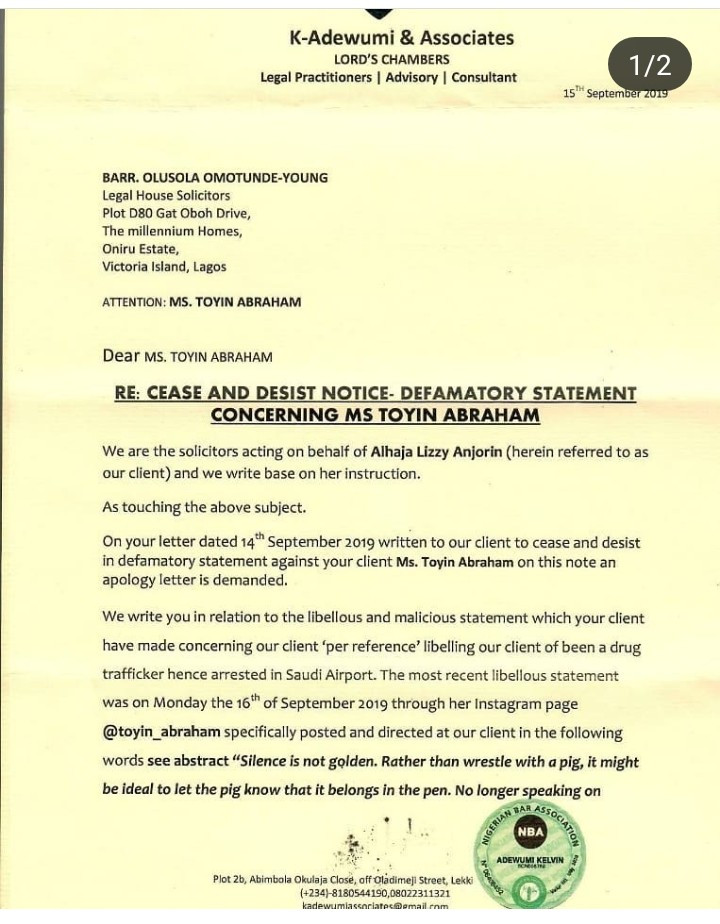 Liz Anjorin countersues Toyin Abraham and demands an apology after she was sued for libel