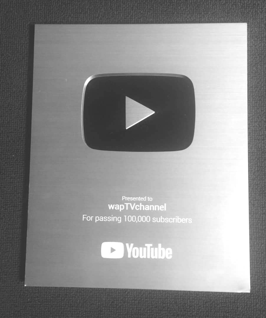 Image result for images of WapTV Awarded with Youtube Plaque