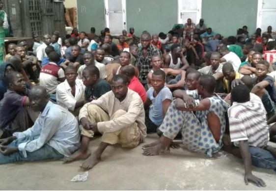 Lagos State Task Force arrest?71 suspected miscreants?in Oshodi (Photo)