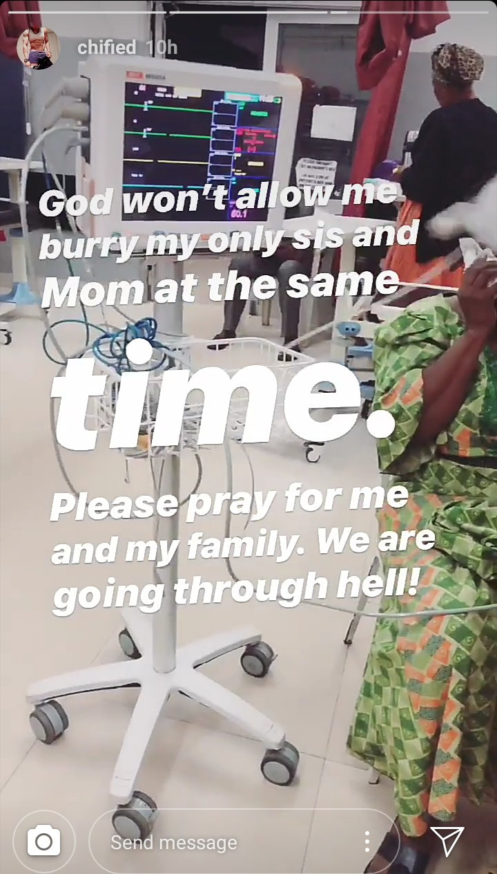 Chified asks for prayers as her mother suffers a medical emergency following the death of two of her children