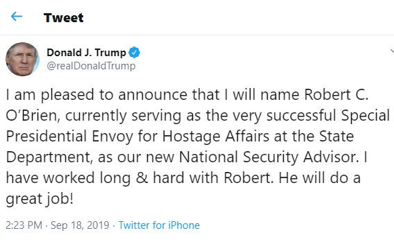 President?Trump appoints Robert O?Brien as new national security adviser
