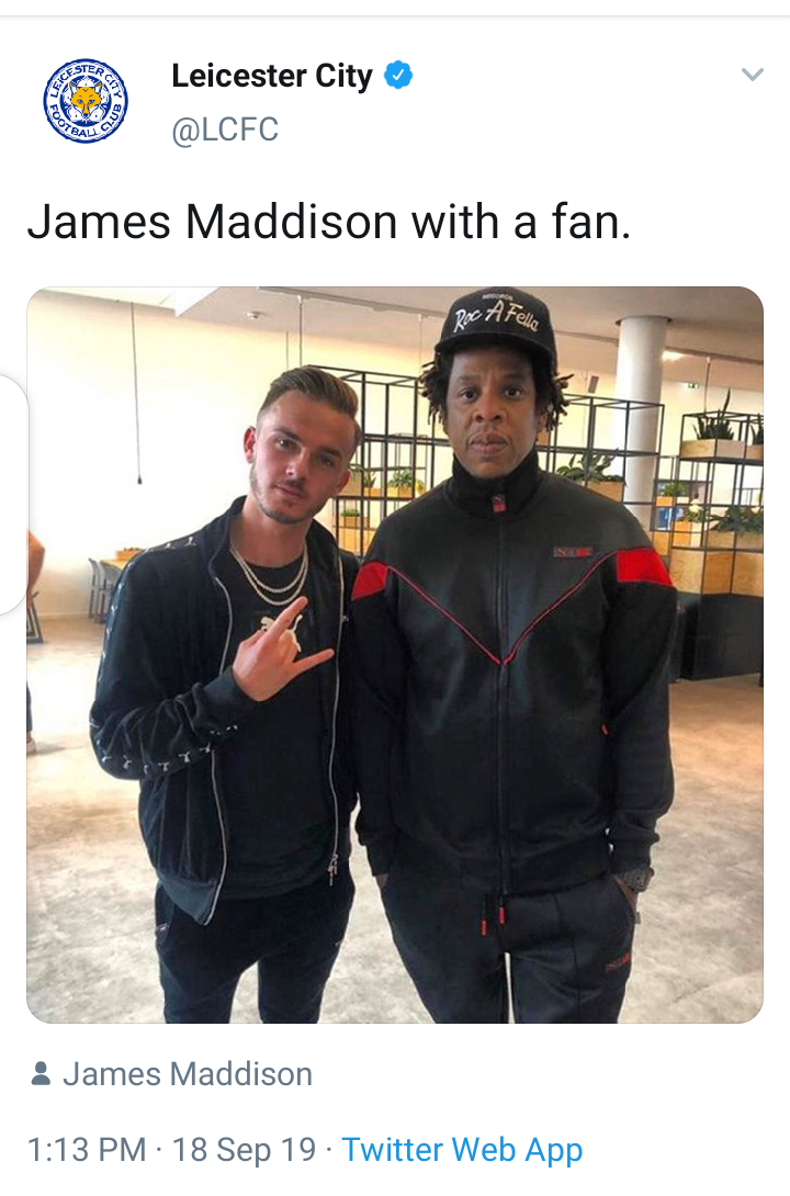 Leicester city player, James Maddison takes a photo with Jay-Z, but the rapper looks unimpressed. Lol!