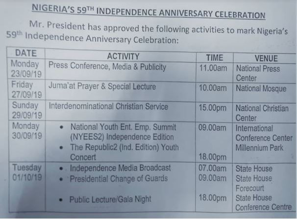 #NigeriaAt59: FG releases timetable for 59th Independence anniversary celebration