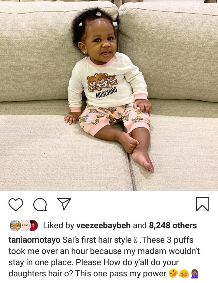 Tania Omotayo shares adorable picture of her daughter